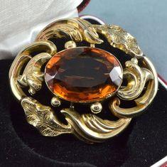 Античная Викторианская брошь 14 кар Gold & овальной огранки виски цитрин ювелирных изделий | eBay