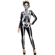 Adult Black & Bone Catsuit - Skeleton