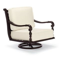 British Colonial Swivel Lounge Chair With Cushions -