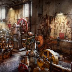 Machinist - A Room Full Of Memories by Mike Savad - Machinist - A Room Full Of Memories Photograph - Machinist - A Room Full Of Memories Fine Art Prints and Posters for Sale Antique Tools, Old Tools, Vintage Tools, Steampunk Images, Steampunk Design, Machinist Tools, Garage Workshop, Blacksmithing, Metal Working