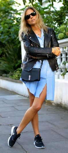 Lucy Williams wears classic blue shirt dress with a leather jacket and trainers.  Leather jacket: Belstaff, Shirt Dress: Gant Rugger, Trainers, Nike Air Max.... | Style Inspiration