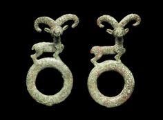 A pair of Luristan bronze harness rings. Iran, circa 10th-8th Century B.C.