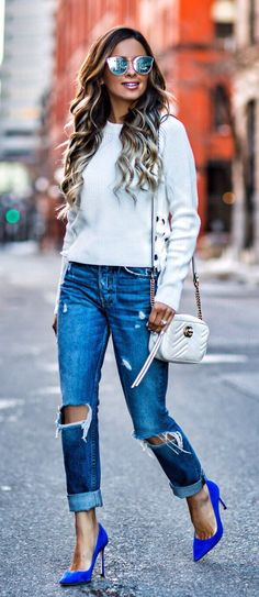#spring #outfits White Knit & Destroyed Jeans & Blue Pumps