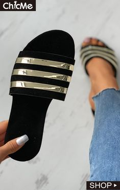 Colorblock Open Toe Reflective Detail Flat Sandals Flat Sandals, Flats, Chic Type, Casual Chic Style, Color Blocking, Muslim, Open Toe, High Heels, Slippers