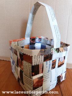 Tuto du panier en papier tressé, fait avec un vieux magazine. Technique accessible dès 5-7 ans et nécessitant peu de matériel. http://www.lacourdespetits.com/panier-en-papier-tresse/ #papiertresse #papier #panier Merci pour le repin