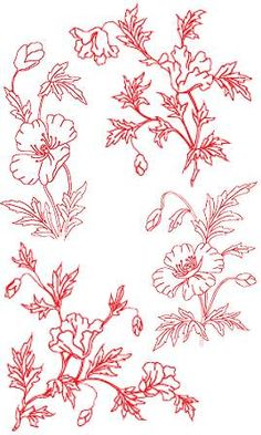 Advanced Embroidery Designs - Poppy Redwork Set.