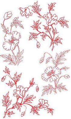 Advanced Embroidery Designs - Poppy Redwork Set.