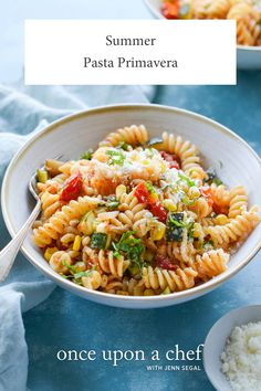 Summer Pasta Primavera - Once Upon a Chef - With roasted tomatoes, zucchini, and corn, this pasta primavera is an ode to summer. Roasted Summer Vegetables, Roasted Tomatoes, Pasta Primavera, Pasta Recipes, Cooking Recipes, Dinner Recipes, Vegan Recipes, Cooking Pork, Risotto Recipes