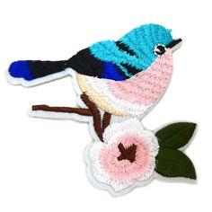 € 3,95 Patch - Strijkplaatje Vogeltje Bird blauw