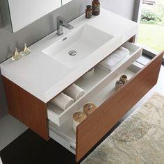 Fresca Mezzo Teak MDF/Aluminum/Glass 48-inch Wall-hung Modern Bathroom Vanity With Medicine Cabinet #ModernBathroom