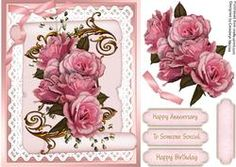 A5 Beautiful Pink Roses On Lace And A Scroll
