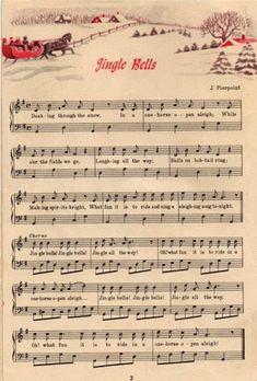 Jingle Bells Vintage Christmas Sheet Music Downloa - Craft For Teenagers Creative Christmas Carol, Winter Christmas, Christmas Holidays, Christmas Decorations, Christmas Ornaments, Christmas Clipart, Christmas Snowman, Tree Decorations, Christmas Ideas