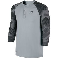 Nike SB Camo Henley Shirt - 3 4-Sleeve - Men s Wolf Grey  b6193464b6e