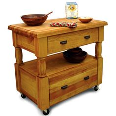 This Europa Kitchen Island from Catskill Craftsmen features a 2 inch thick top and two spacious drawers. This kitchen island is easy to assemble and has a overall size of 40 inch W x 24 inch D x 36 inch H. Oil Rubbed Bronze finished hardware adds a classic touch. The kitchen island ships via UPS.
