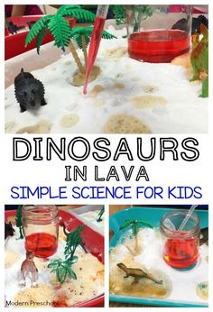 Dinosaurs In Lava Science Kids Can Discover And Explore Chemical Reactions Made With Baking Soda And Vinegar In This Simple Dinosaur And Lava Themed Activity Tray Perfect For The Preschool Pre K Kindergarten Classroom During A Dinosaur Theme Preschool Science, Science For Kids, Science Activities, Toddler Activities, Science Experiments, Summer Science, Science Education, Science Fun, Physical Science