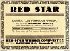 Original-Werbung/ Anzeige 1924 - RED STAR / SPECIAL OLD HIGHLAND WHISKY - ca. 180 x 135 mm