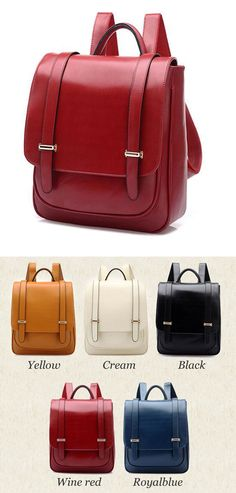 so cute backpack ! Double Buckle Leather Shoulder Bag Backpack #backpack #college #bag #shoulder #leather #school