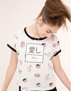 Pull&Bear - femme - t-shirts et tops - t-shirt imprimé all over - glace - 09243353-I2015                                                                                                                                                                                 Plus