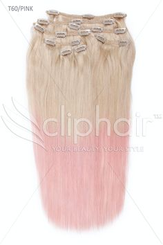 Gorgeous Dipdye Human Hair Extensions   Blonde with pink ends   Full Head Set   170g of Hair   Free worldwide Shipping   Shop Now : www.Cliphair.co.uk or Click on photo to Buy Now.