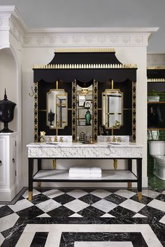 Glamorous black, white and gold details are piled on in this gorgeous Classic Charleston style bathroom, designed by Susan Jamieson for the 2016 #DXVDesignPanel. Shown: Randall Widespread Bathroom Faucet with Pop Round Under Counter Sink.