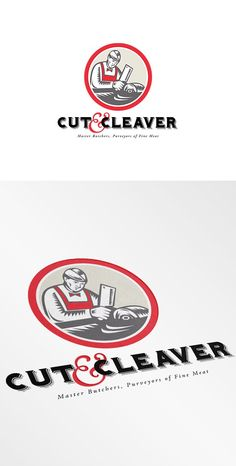 Cut and Cleaver Master Butcher Logo by patrimonio on @creativemarket