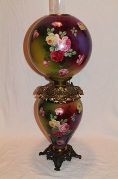Museum Quality ~ OUTSTANDING LARGE Gone with the Wind Oil Lamp ~Masterpiece Breathtaking BEAUTY WITH HAND PAINTED ROSES ~ Fully Painted Identically on BOTH SIDES ~ Fancy Ornate Font Spill Ring and Base~ Original Condition ~Original Parts ~ Collector'