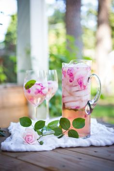 Wild Rose Petal Sangria- a refreshing summer drink that is lightly floral and soothing to the soul - this would be perfect with #LaVieilleFerme Rosé form Famille #Perrin! | www.feastingathome.com