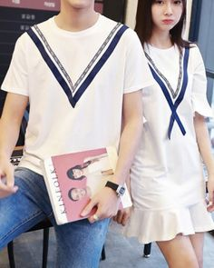 College style school uniforms couples tops a set Couple Clothes, Couple Outfits, Cheap Clothes, College Style, College Fashion, School Fashion, School Uniforms, Couples, Sweet