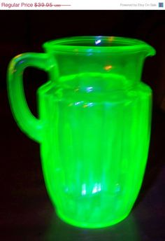 "*ANCHOR HOCKING ~ ""Pillar Optic"" style,  Depression Glass- Vaseline Glass."