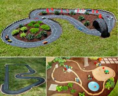 DIY -- Backyard Race Car Track, this site has different ideas for making your own Racetrack in the yard.