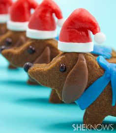 Wiener dog Santa cookies @ http://www.sheknows.com/food-and-recipes/articles/978897/wiener-dog-santa-cookie-recipe