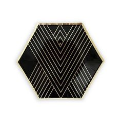 Black and Gold Hexagon Art Deco Themed Wedding Party Plates (Pack of 8)