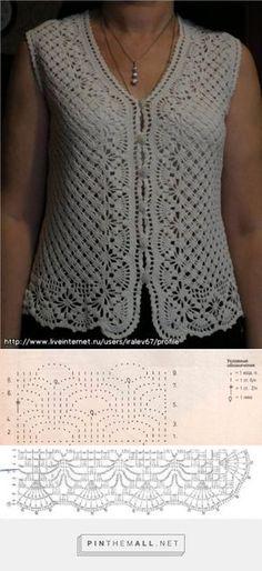 Ideas for crochet lace vest pattern charts Pull Crochet, Gilet Crochet, Crochet Vest Pattern, Crochet Coat, Crochet Jacket, Crochet Cardigan, Crochet Clothes, Crochet Stitches, Crochet Vests