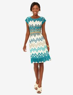 Sharagano Teal Chevron Print Dress – Misses - Top Trend Dresses | Stage Stores