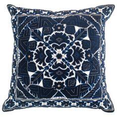 Bandhini Homewear Design Kilim Navy Lounge Throw Pillow BAN2121KN
