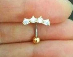 16g CZ Flower Belly Button Ring rose gold flower belly ring