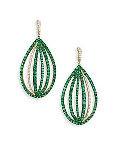 Ivy - Diamond & Green Tsavorite Caged Drop Earrings