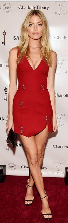 Who made Martha Hunt's red dress and black sandals?