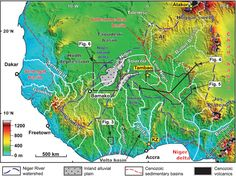 Topography and drainage of West Africa showing selected geological... | Download Scientific Diagram Continental Divide, Study Areas, West Africa, Continents, Geology, Evolution, The Selection, Diagram, Science