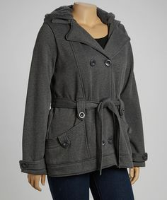 1b06ee5e56543 Take a look at this Charcoal Fleece Trenchcoat by Dollhouse  amp  YMI  Plus-