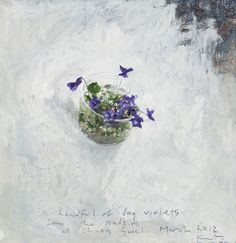 A handful of dog violets from the roadside at Chy an Gwel. March Oil on board 26 x 26 cm - by Kurt Jackson Kurt Jackson, Flower Images, Flower Art, St Just, Still Life Art, Painting Inspiration, Painting & Drawing, Illustration Art, Drawings
