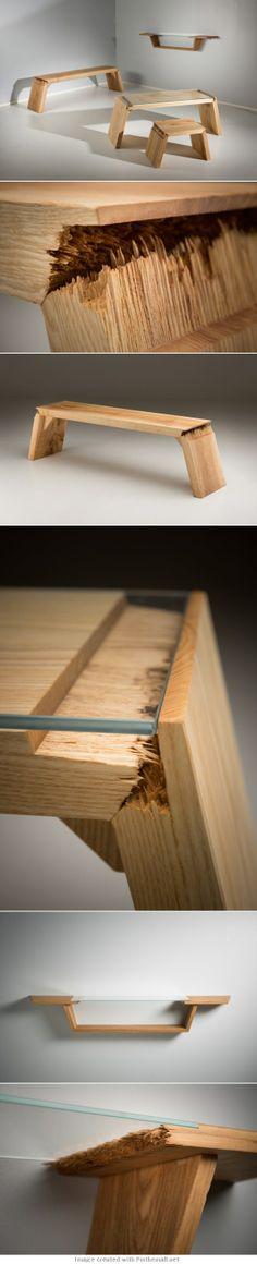 #table et #tabouret en verre et bois