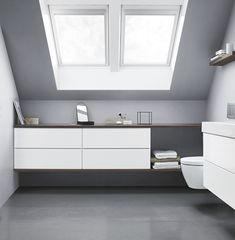 Selv om du har skråtak finnes det muligheter. Du kan for eksempel utnytte plassen med en stor skjenk. Kombiner flere skuffemoduler med en benkeplate, så får du en praktisk og fin vegg-til-vegg-løsning. Baderomsmøbelet er fra Dansani. Les mer om smart oppbevaring på bademiljo.no! #baderom #oppbevaring #skråtak Contemporary Bathrooms, Modern Bathroom, Small Bathroom, Quirky Bathroom, Bathroom Storage Solutions, Storage Spaces, Dream Bathrooms, Beautiful Bathrooms, Bathroom