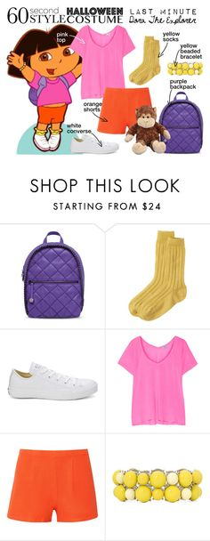"""Last-minute Costume: Dora The Explorer"" by nerd-ville ❤ liked on Polyvore featuring Nanda Home, STELLA McCARTNEY, Toast, Converse, Splendid, Kain, Mixit, Halloween, Costume and cosplay"