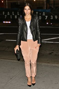 Leather Jacket with powder pink trim pans and pointy pumps. Sassy.