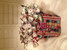 """""""money bag"""". Raffle basket I made for Chorus fund raiser."""