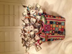 """money bag"". Raffle basket someone made for a school auction."