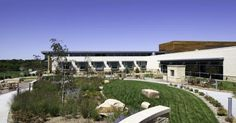 The hospital's healing garden—with its butterflies, native plants, stone patio, and fireplace—offers patients, families, and staff a peaceful place of respite. Photos courtesy of HDR Architecture, Inc.; © 2011 Tom Kessler.