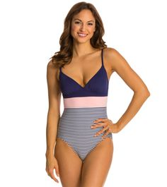 154c5f45ca Vince Camuto Lido Stripe V Neck One Piece Swimsuit at SwimOutlet.com - Free  Shipping