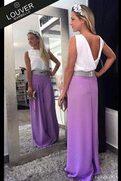 Total look Louver compuesto de nuestro pantalón Paloma en color lila con nuestra blusa Bárbara, completamos el outfit con cinturón plata nudo confeccionado a medida. Nos chifla!!
